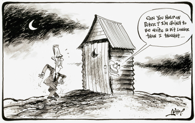 A cartoon of Peter Costello standing outside an outhouse, crossing his legs in discomfort. John Howard pokes his head out the door and says 'Can you hold on Peter? I'm going to be quite a bit longer than I thought...' - click to view larger image