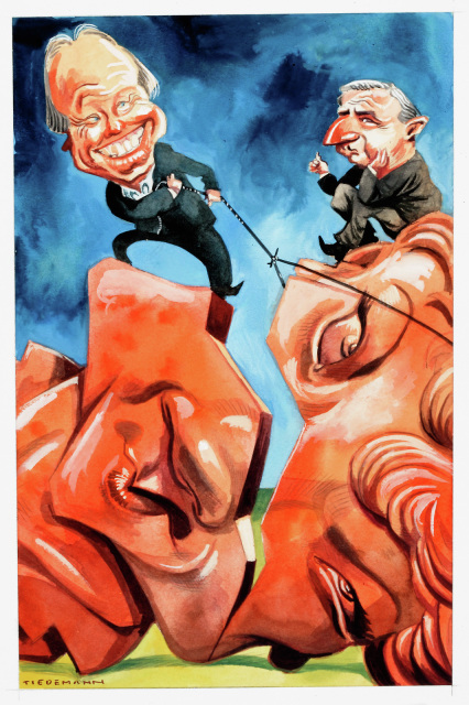A cartoon of two men trying to repair a broken statue of Pauline Hanson. - click to view larger image