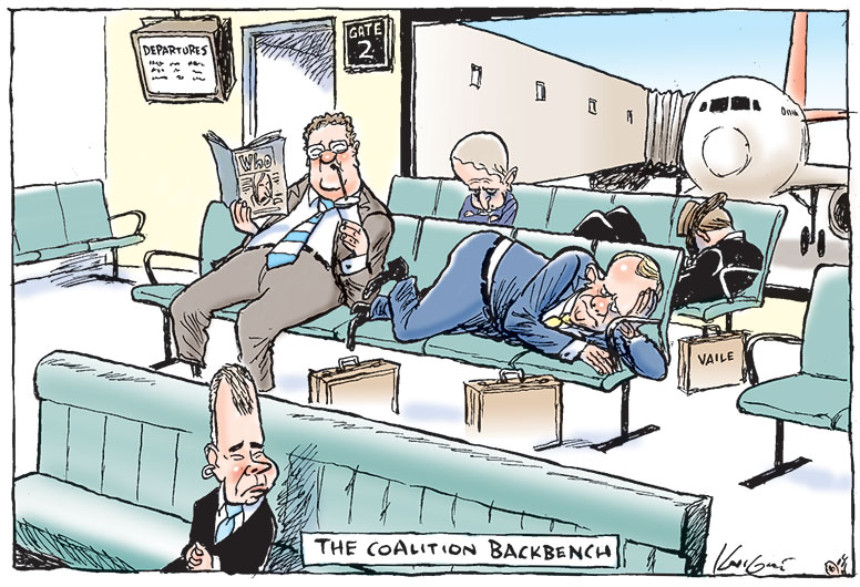 An airport waiting lounge. Brendan Nelson sits on a bench seat in the foreground; Alexander Downer and Phillip Ruddock sit on bench seats in the background. Peter Costello lies on the seat next to Mr Downer, looking dejected. Mark Vaile sleeps next to Mr Ruddock, with his hat covering his face. An airliner docked at a departure gate is visible through the window in the background.  - click to view larger image