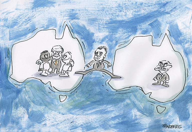 Two Australian landforms surrounded by a blue sea. Kevin Rudd stands smiling on the left landform, with his arms around a black man and a white man. An angry John Howard stands on the right landform. Brendan Nelson straddles both landforms with stretched legs. - click to view larger image