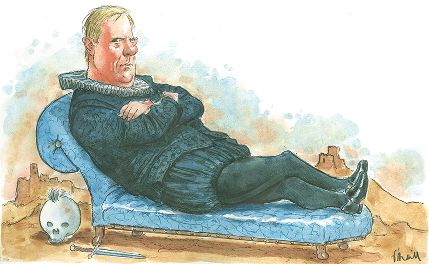 Colour illustration showing Peter Costello reclining on a light blue chaise lounge with his legs and arms crossed. He wears a black Shakespearean costume with tights and a white frilled collar. A skull with a tuft of hair on top, and a dagger, are on the ground near the lounge. Battlements are visible in the background. - click to view larger image
