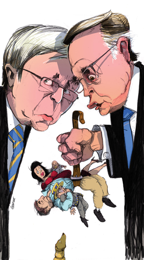 Kevin Rudd and Wayne Swan are depicted head to head as if whispering to each other. Wayne Swan holds a belt in his fist from which dangle two adults and and two children, squeezed by the belt. A dog is at the bottom of the image, its nose pointing up. - click to view larger image