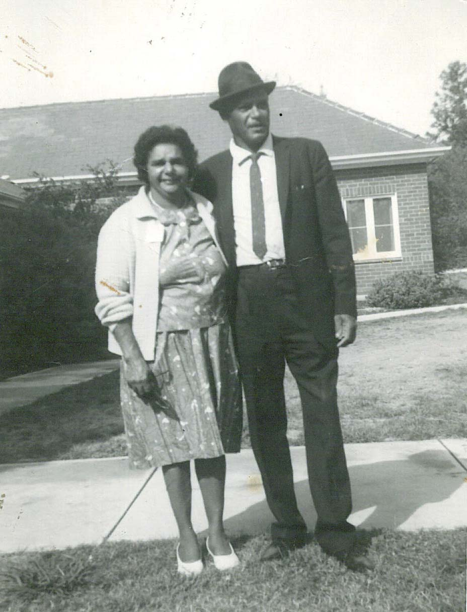 Black and white portrait of a woman and man. - click to view larger image