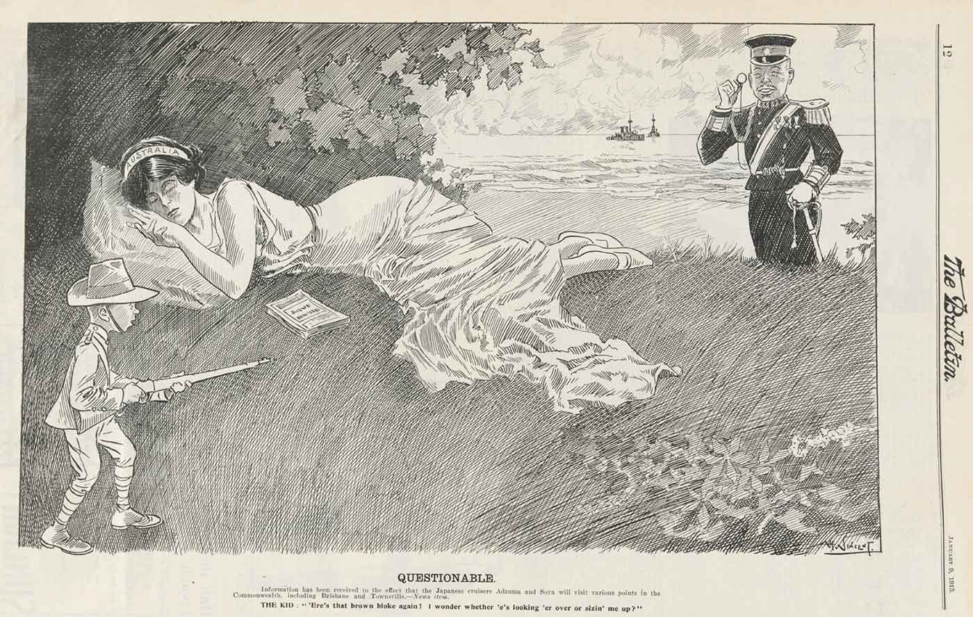 Black and white illustration showing a woman named 'Australia' laying under a tree. A soldier holding a monocle stands behind her. In front, is a much smaller, Australian solider. - click to view larger image