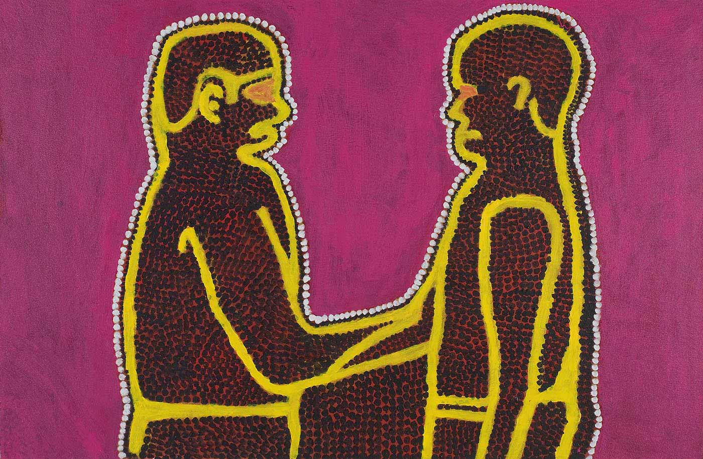 A painting on canvas of two human figures facing each other and joined at the hand or arm. The figures are outlined in yellow and filled with black dots over a pink background, with a white dotted edge around the two figures. The background is a dark pink-purple.  - click to view larger image