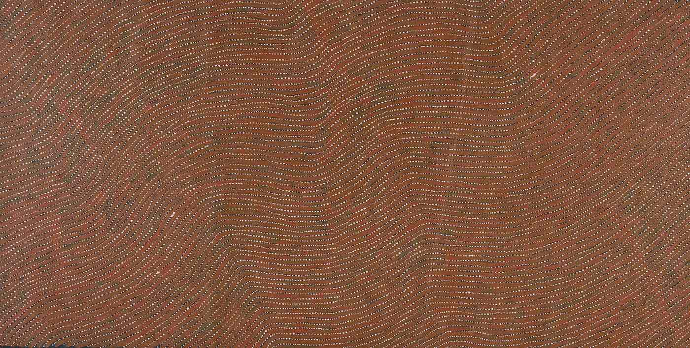 A brown toned painting on brown linen of horizontal brown wavy lines with white dotted lines between them on a solid black background. The lines start from the lower left corner and flow to the top right. - click to view larger image