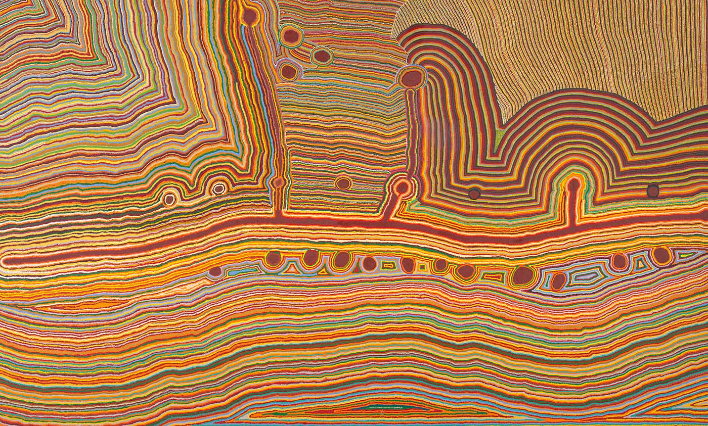 A multicoloured acrylic painting on canvas, depicting an aerial veiw map of the artist's landcape. The artwork has a yellow, orange, red, blue, and green line design with circular details and a central red band.