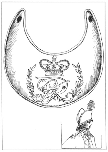 Illustration of a breastplate with a design featuring a crown. There is another illustration of an officer in nineteenth century clothing below the breastplate. - click to view larger image