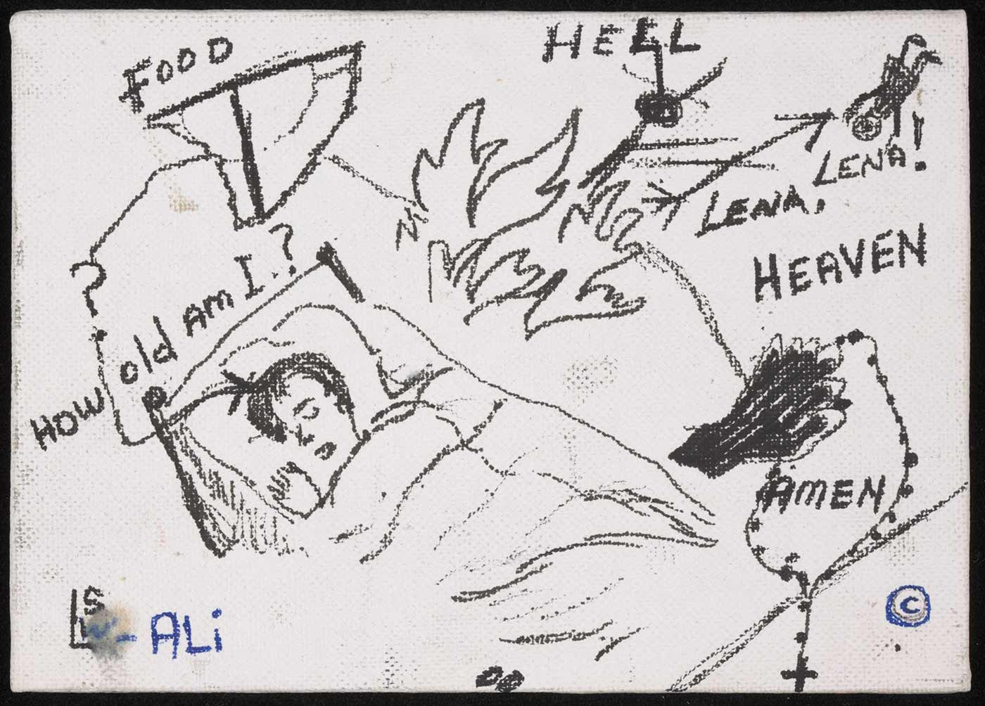 A white canvas art board with a black ink sketch of a child sleeping in a bed. Words and other images surround the central sleeping figure. 'FOOD / How old am I? / HELL / LENA, LENA / HEAVEN / AMEN' is written in black pen. Flames, a falling girl and a hand holding rosary beads are also sketched. 'LSW ALi' is the artist's mark in the bottom right. - click to view larger image