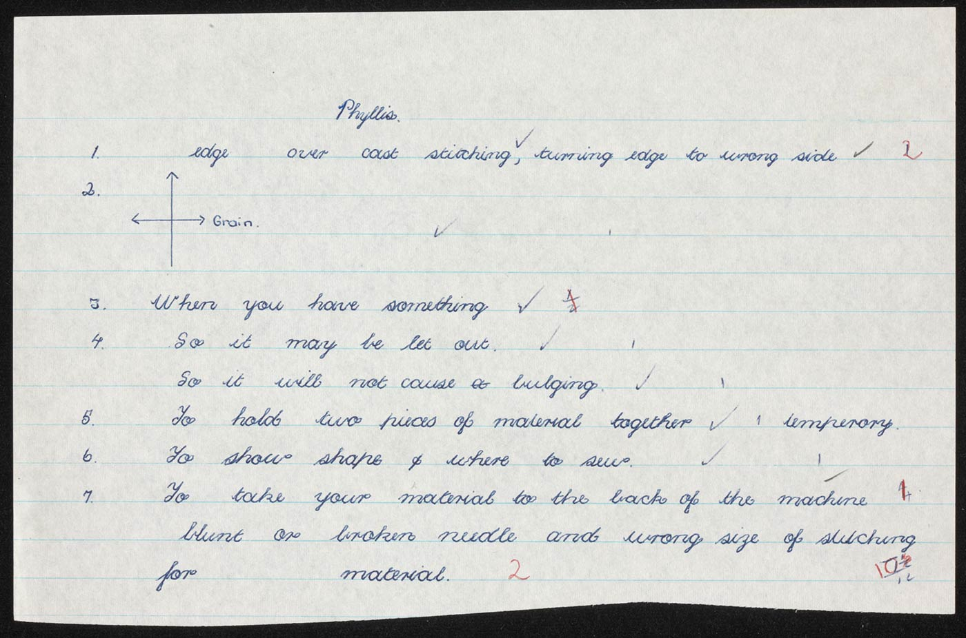 Handwritten lined half-page with the heading 'Phyllis'. The text in blue ballpoint pen consists of answers to questions (not included) which have been corrected. The answers have been given a mark of 10.5 out of 12. - click to view larger image