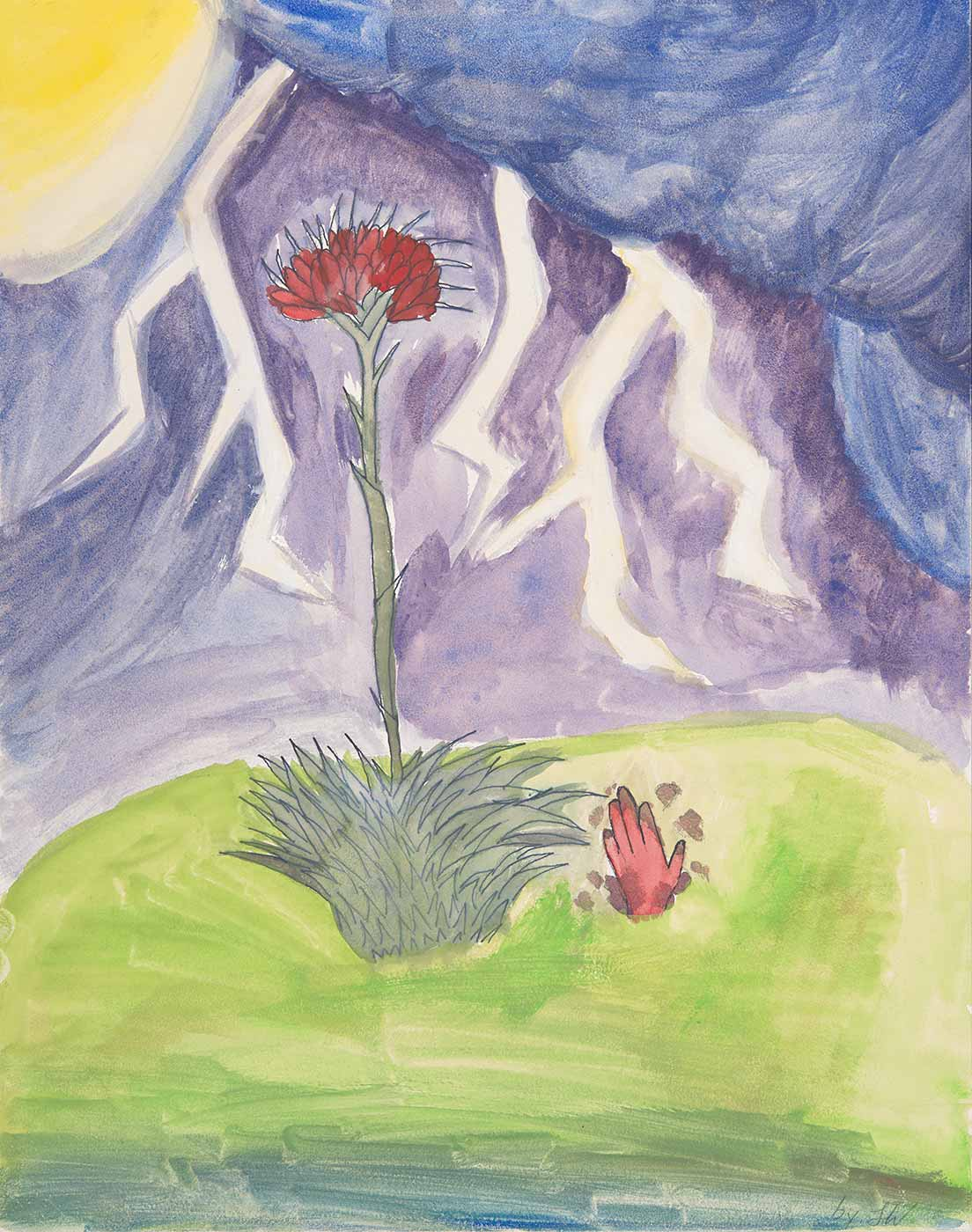 A child's painting depicting a red flower against a purple sky, with lightning. - click to view larger image