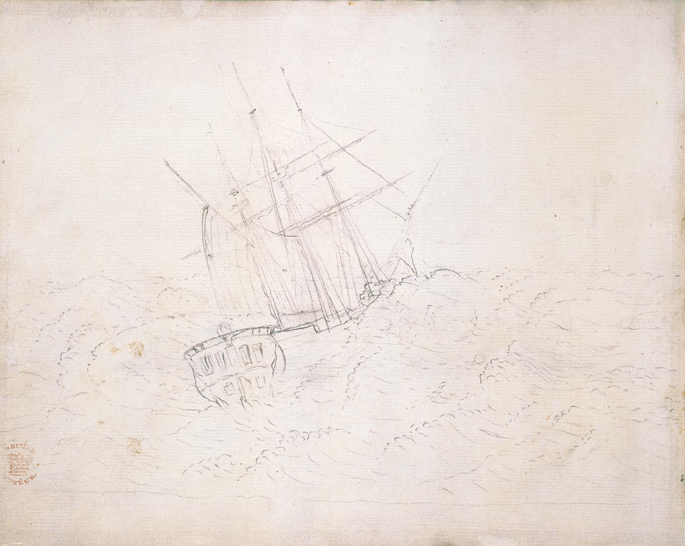 Black and white pencil drawing of a high-masted sailing ship with waves breaking over the side.