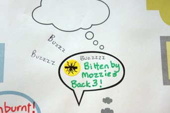 A section of a board game template displaying the words 'Bitten by Mozzies Back 3!' and a drawing of a mosquito making 'BUZZ' sounds.