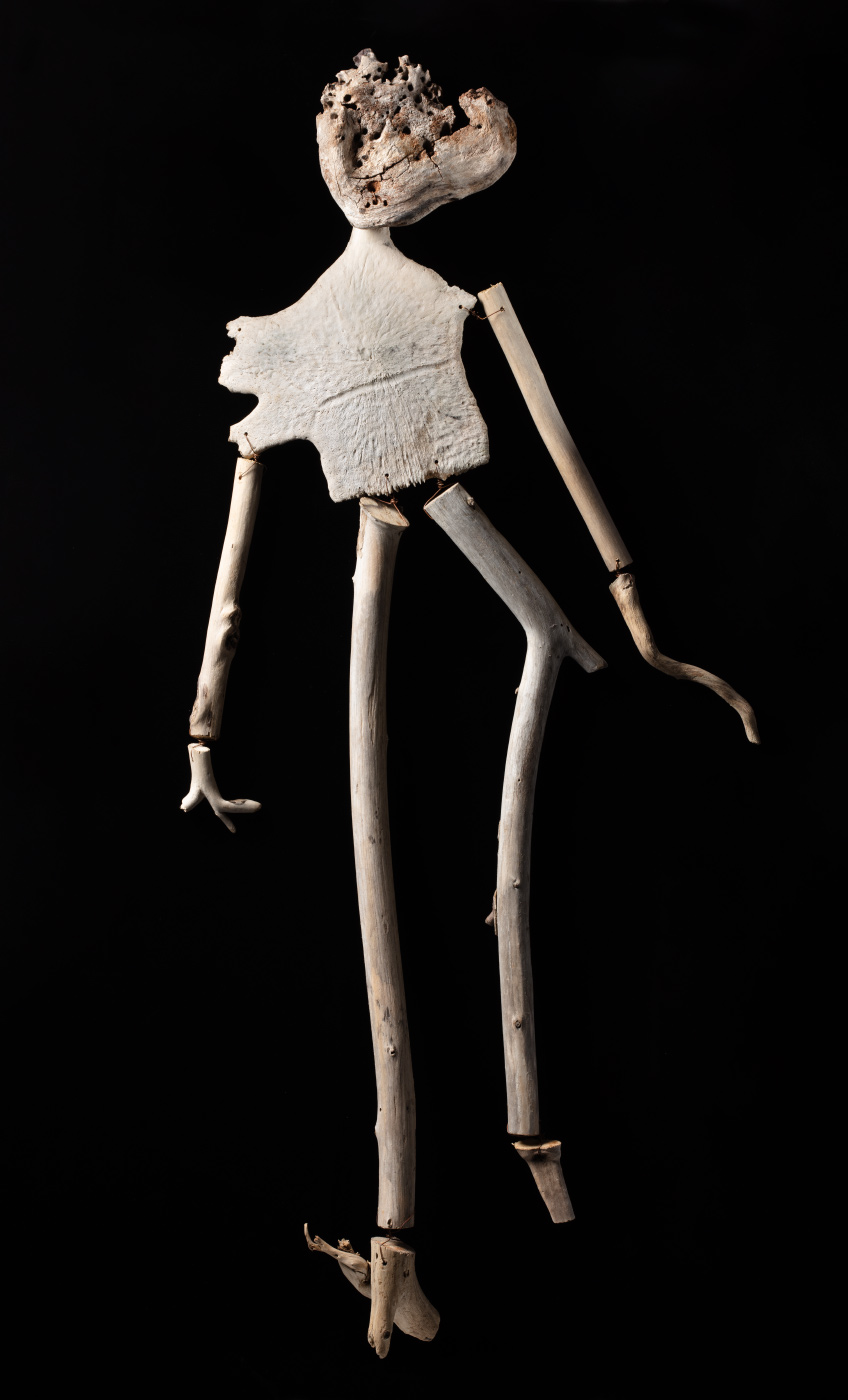 A figurative artwork made from driftwood, turtle bone and copper wire. - click to view larger image