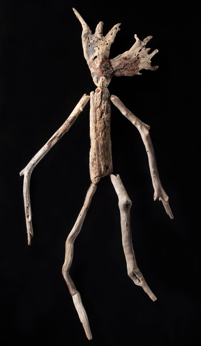 A figurative artwork made from driftwood, shells and copper wire. - click to view larger image