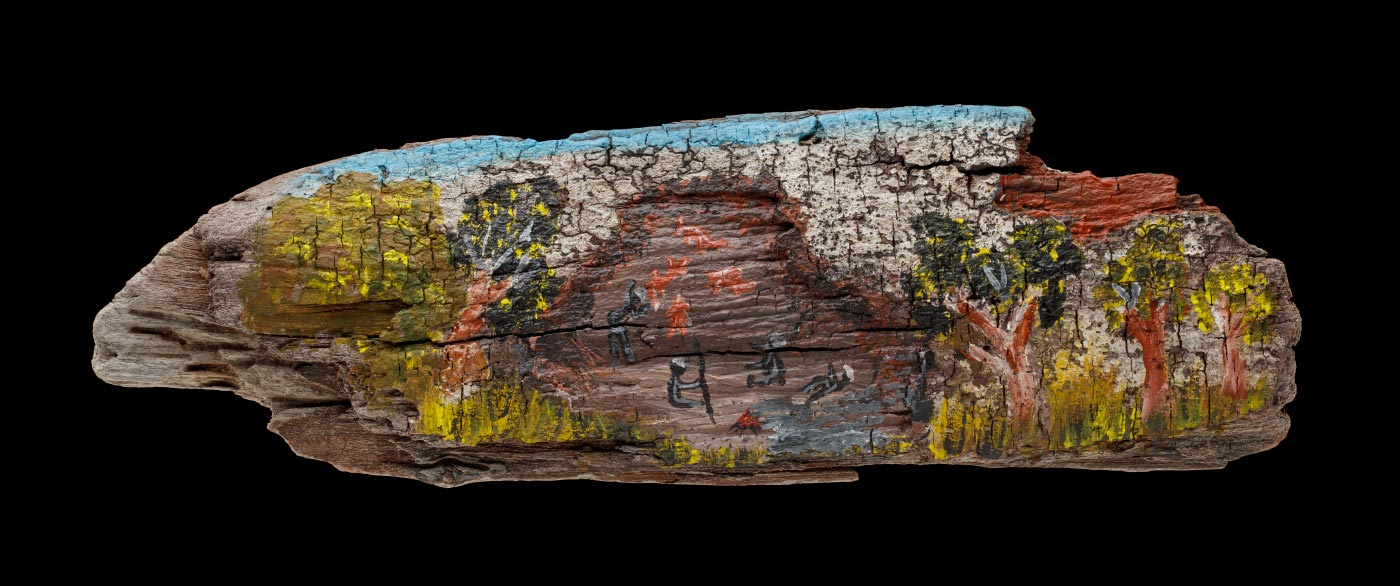 An acrylic painting on driftwood featuring figures and animals in the centre, trees and foliage on both the right and left side and a blue sky. - click to view larger image