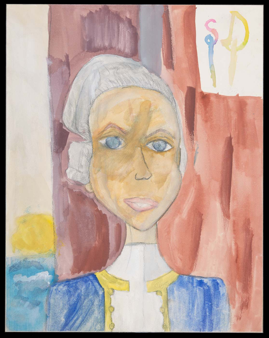 Painting and drawing on aquabord, depicting the head and shoulders of a person. 'SD' appears in the upper right corner. - click to view larger image