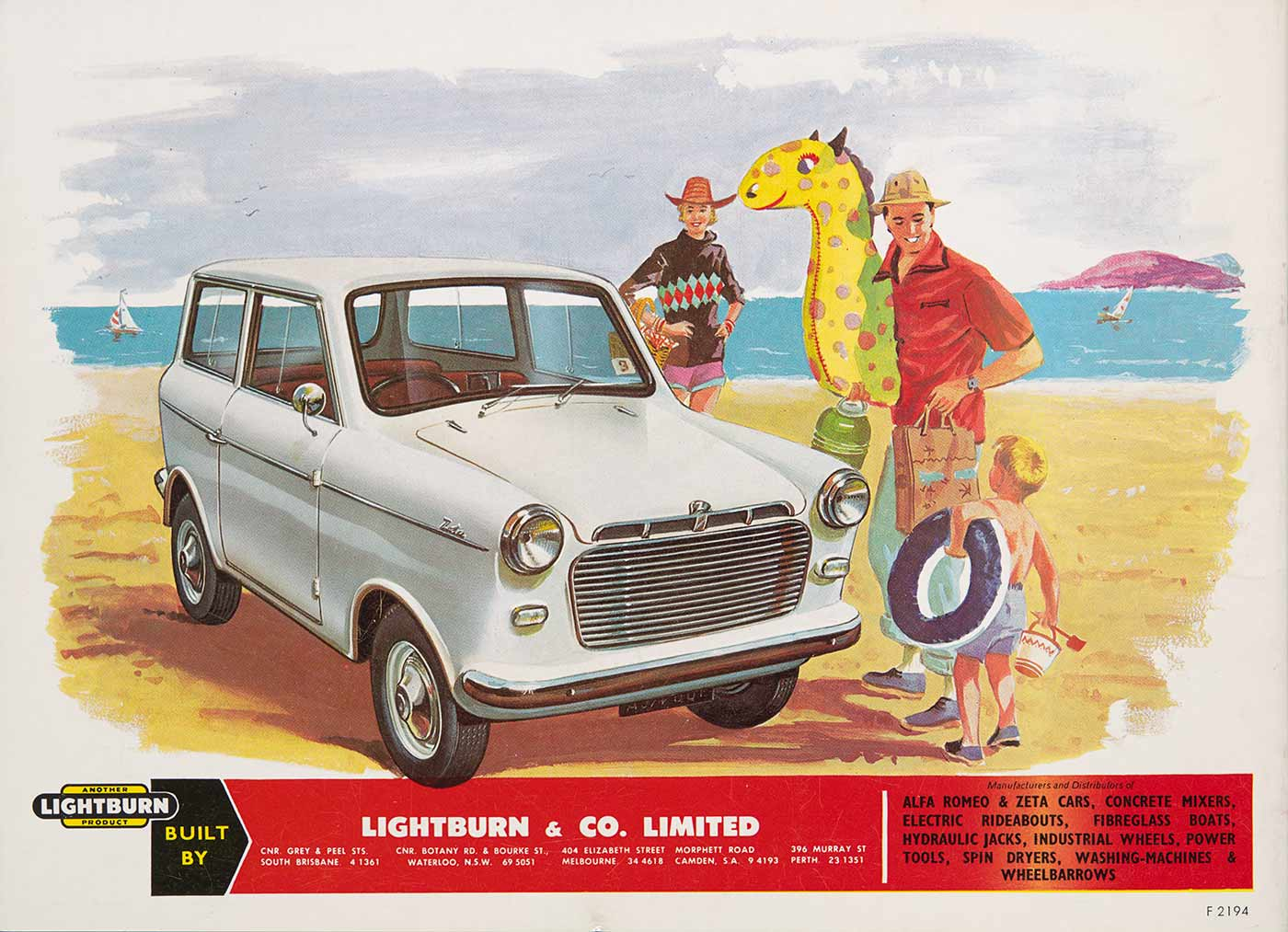 A coloured advertising brochure cover featuring a small white motor car, a woman, and man and child holding inflatable toys in a beach setting.