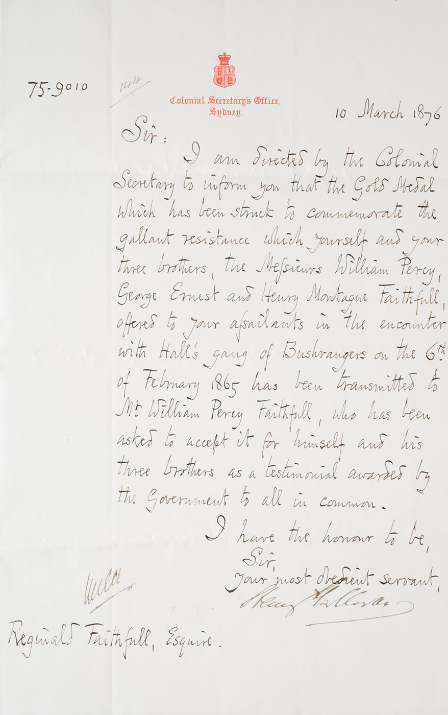 A handwritten letter from the Colonial Secretary's Office to George Ernest Faithfull, 10 March 1876. - click to view larger image