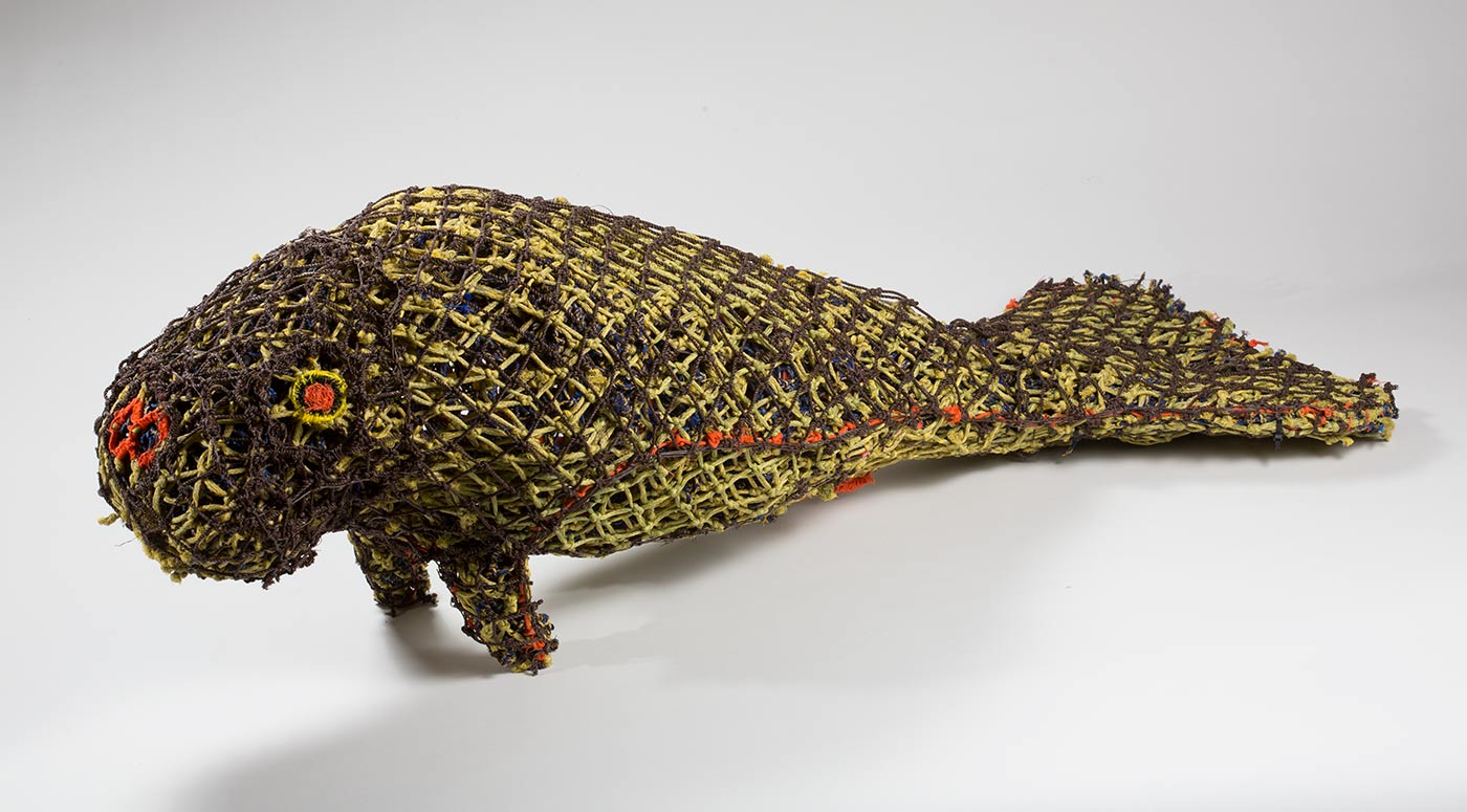 Woven sculpture of a dugong. - click to view larger image