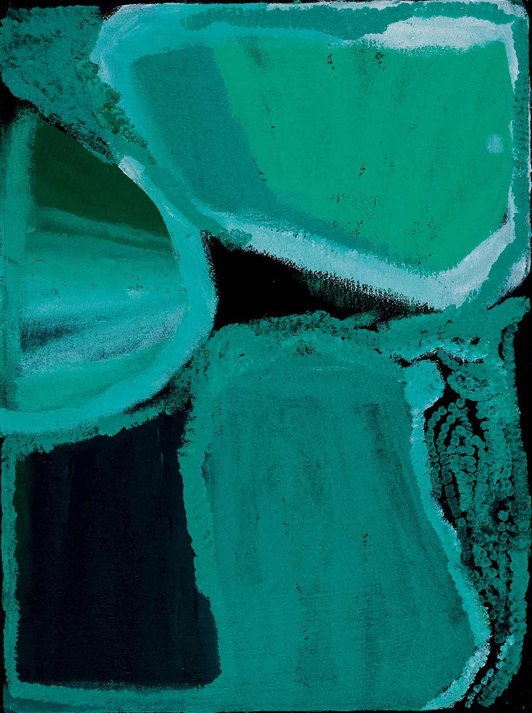 A rectangular painting on brown linen with three round edged shapes in aqua-turquoise extending from the edges into the middle of the painting with light coloured edges, on a black or dark navy background. The bottom right corner is filled with sinuous lines of turquoise dots. - click to view larger image