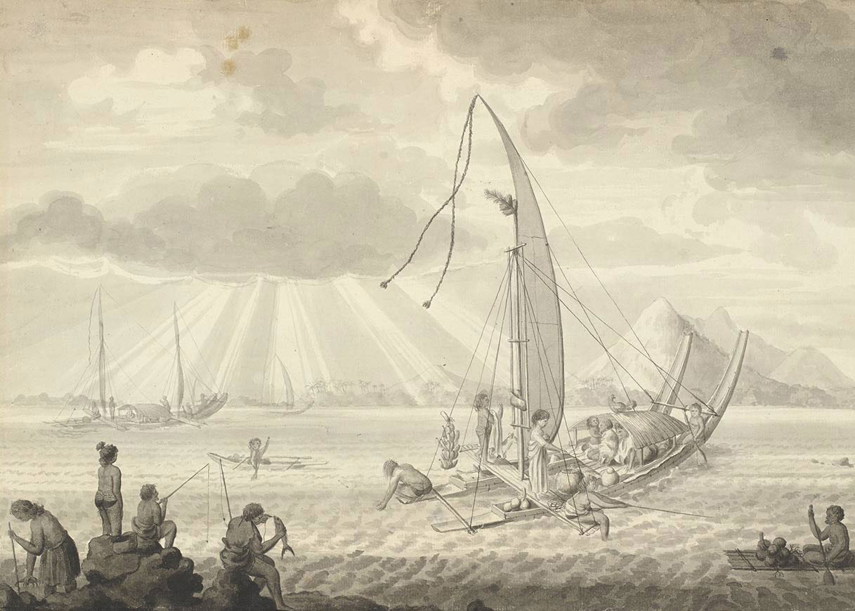 Painting of a scene featuring people in sailing vessels in a bay with a backdrop of steep mountains. In the foreground are people fishing off rocks. - click to view larger image