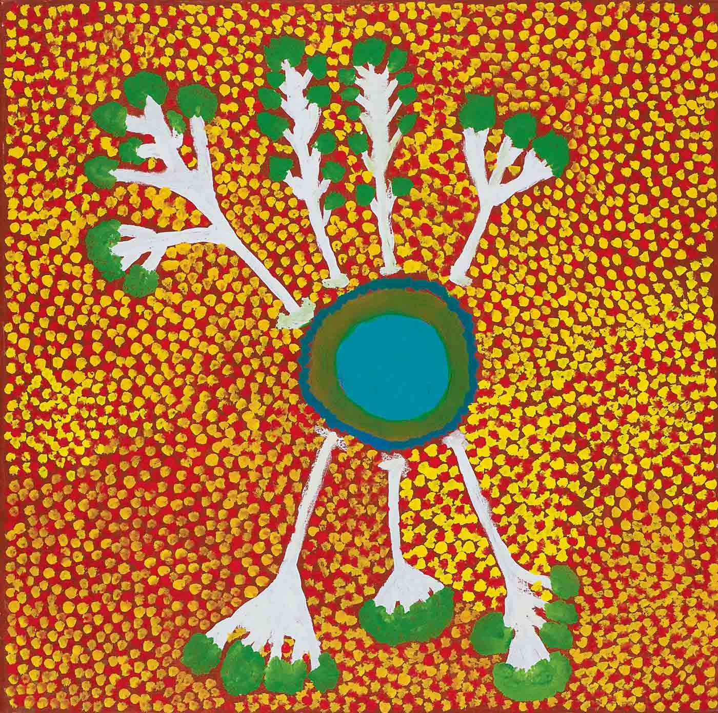 A square painting on canvas with a concentric circle in turquoise, green and blue in the centre with four tree branches in white and green protruding from the top, and three from the bottom. The background of the painting is brown with an overlay of yellow and red dots.
