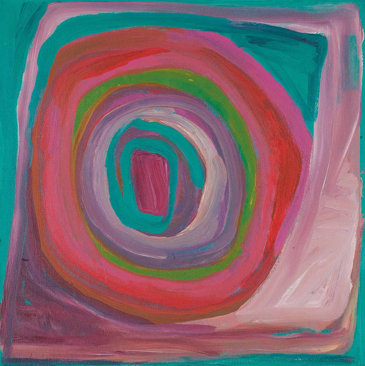 A multicoloured concentric circle painted within a square border on canvas. Colours include turquoise, pink, red, green, blue, and shades of purple. - click to view larger image