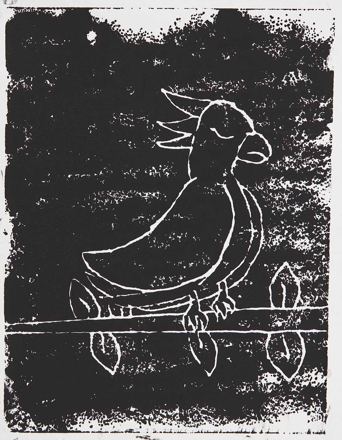A black print on white cardboard featuring a bird on a branch with leaves. Print is titled, signed and dated 'Flora and Fawna Alexandra Wambach 25/6/19' across the bottom. - click to view larger image