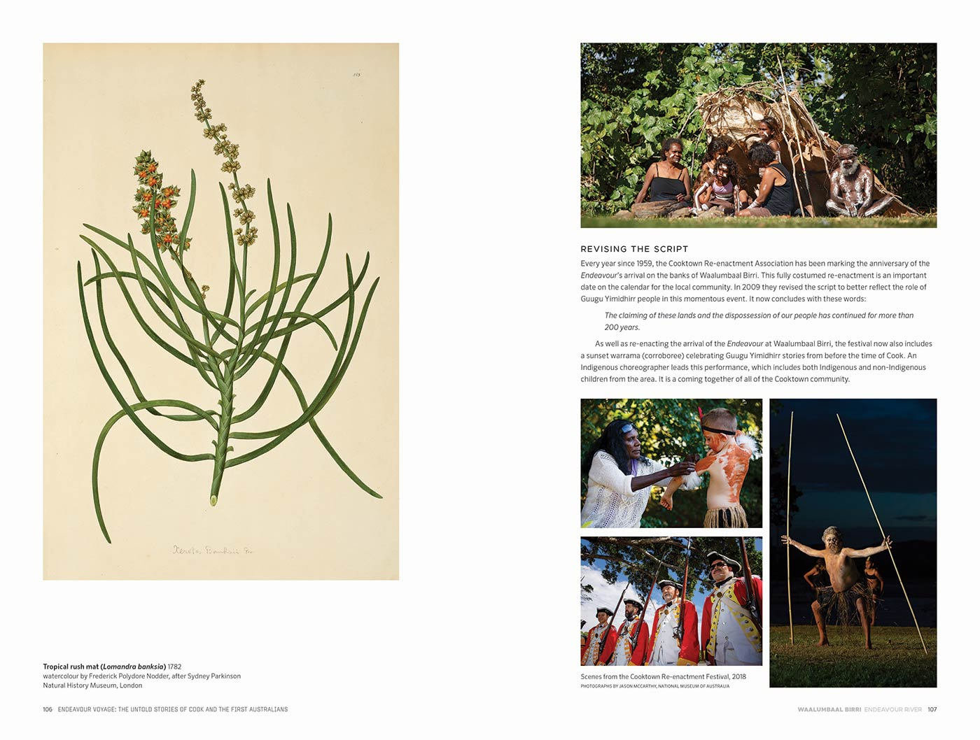 Sample page for the Endeavour Voyages: The Untold Stories of Cook and the First Australians catalogue. The page features body text, and images including an artwork of a plant species, and various scenes of people participating in the 2018 Cooktown Re-enactment Festival. - click to view larger image