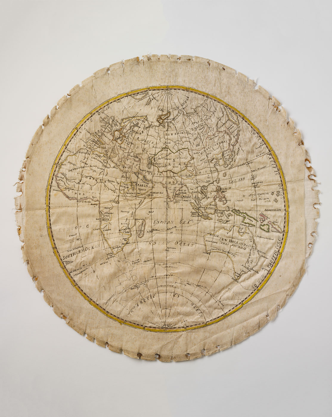 Embroidered map showing Eastern Hemisphere. - click to view larger image