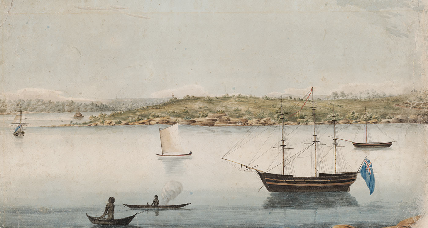 Colour illustration of sailing vessels in a port. There are two canoes with people. The central ship has an Australian flag fixed to one end.