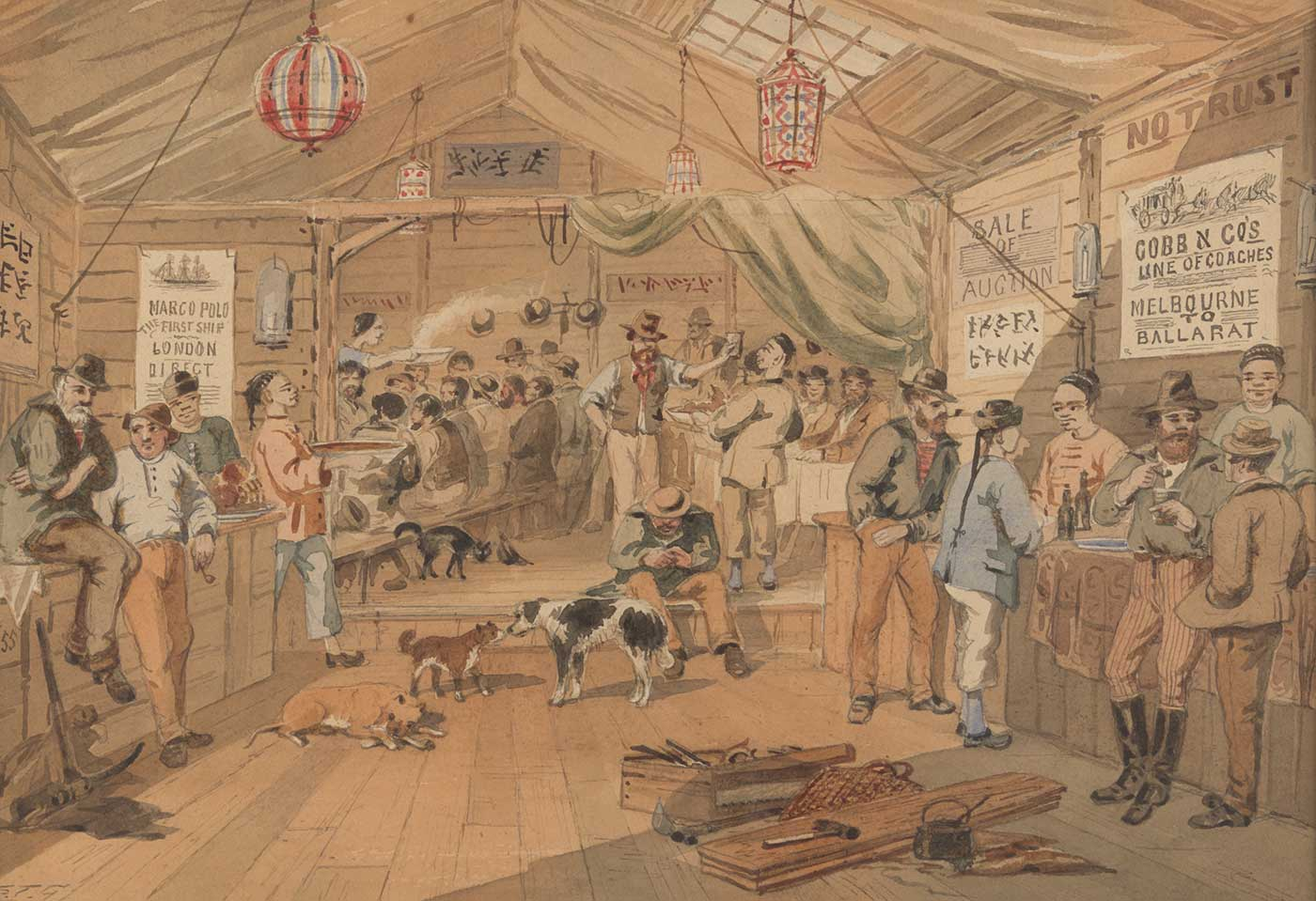 A watercolour painting in browns, white, red, blue and grey depicting a bar with wooden walls and fabric covering the ceiling. The bar is crowded with people and there are three dogs and a cat. There are work tools in the foreground, and posters on the walls in two languages include 'SALE / OF / AUCTION', 'MARCO POLO / FIRST SHIP ...' and 'COBB N CO'S / LINE OF COACHES'. The painting is signed in pencil in bottom left corner 'S.T.G.'. - click to view larger image