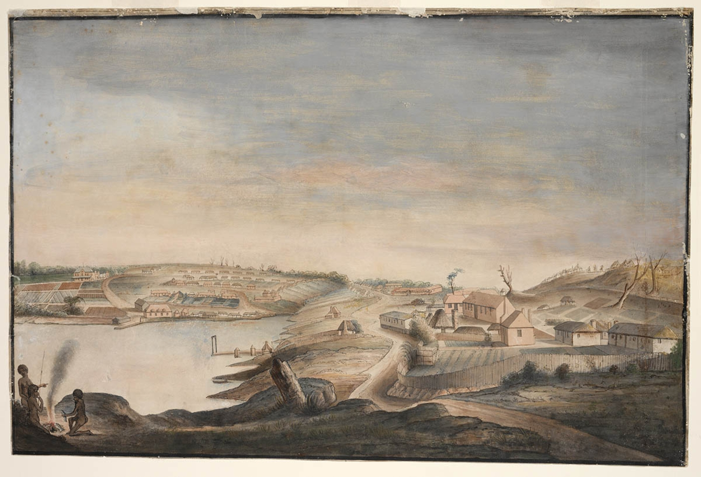 Artwork of a view of a settlement around a bay and with a small group of people around a fire in the foreground.
