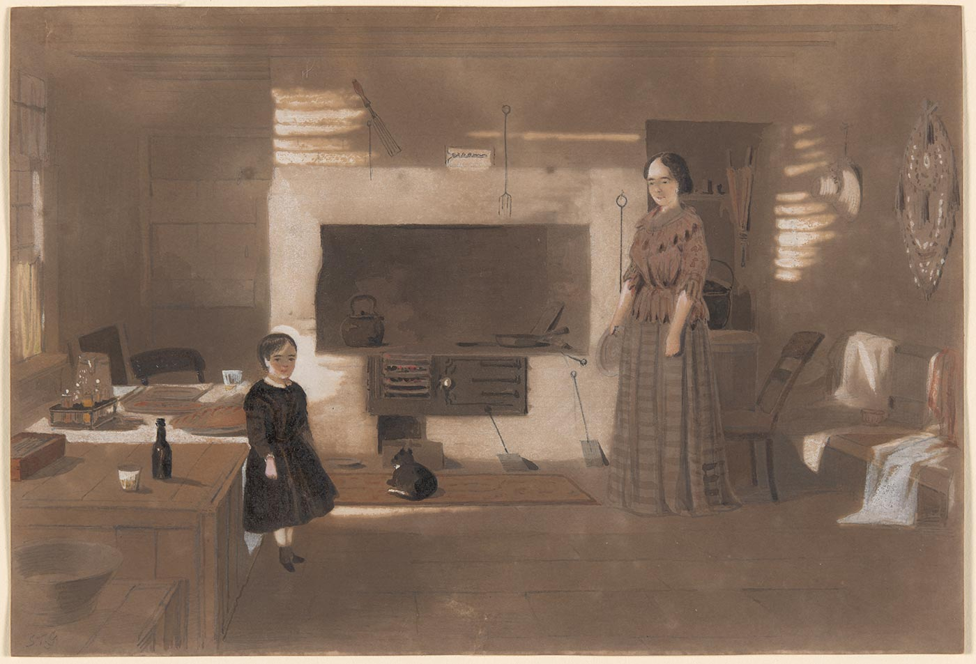 A watercolour painting in greys, browns and white depicting a woman and a child standing in a kitchen. In the background is a stove with a cat lying in front of it. Handwritten in pencil in the bottom left hand corner is 'S.T.G.'. - click to view larger image