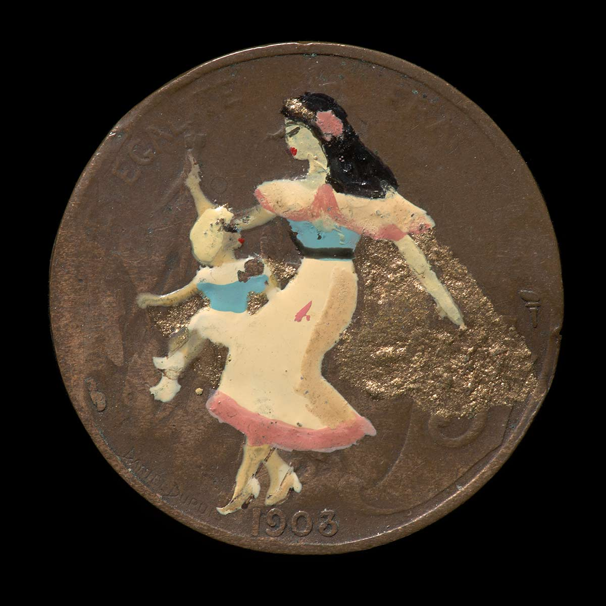 A circular, hand painted copper coloured metal coin. One face is overpainted with a woman with long black hair wearing a blue, pink and white dress, and a gold cape. A child with white hair is seated on her knee and is wearing a blue and white dress. - click to view larger image