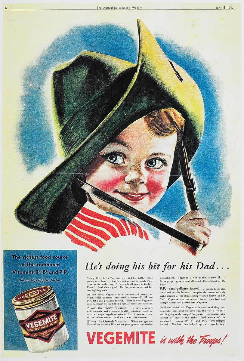 Advertisement for Kraft Vegemite featuring an illustration of a smiling child with rosy cheeks and wearing an Australian Army hat. The text reads: 'He's doing his bit for his Dad...' and 'VEGEMITE is with the Troops!' - click to view larger image