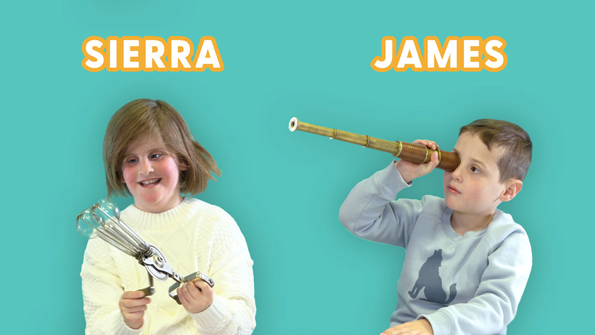 Promotional image of children Sierra and James holding museum objects. - click to view larger image
