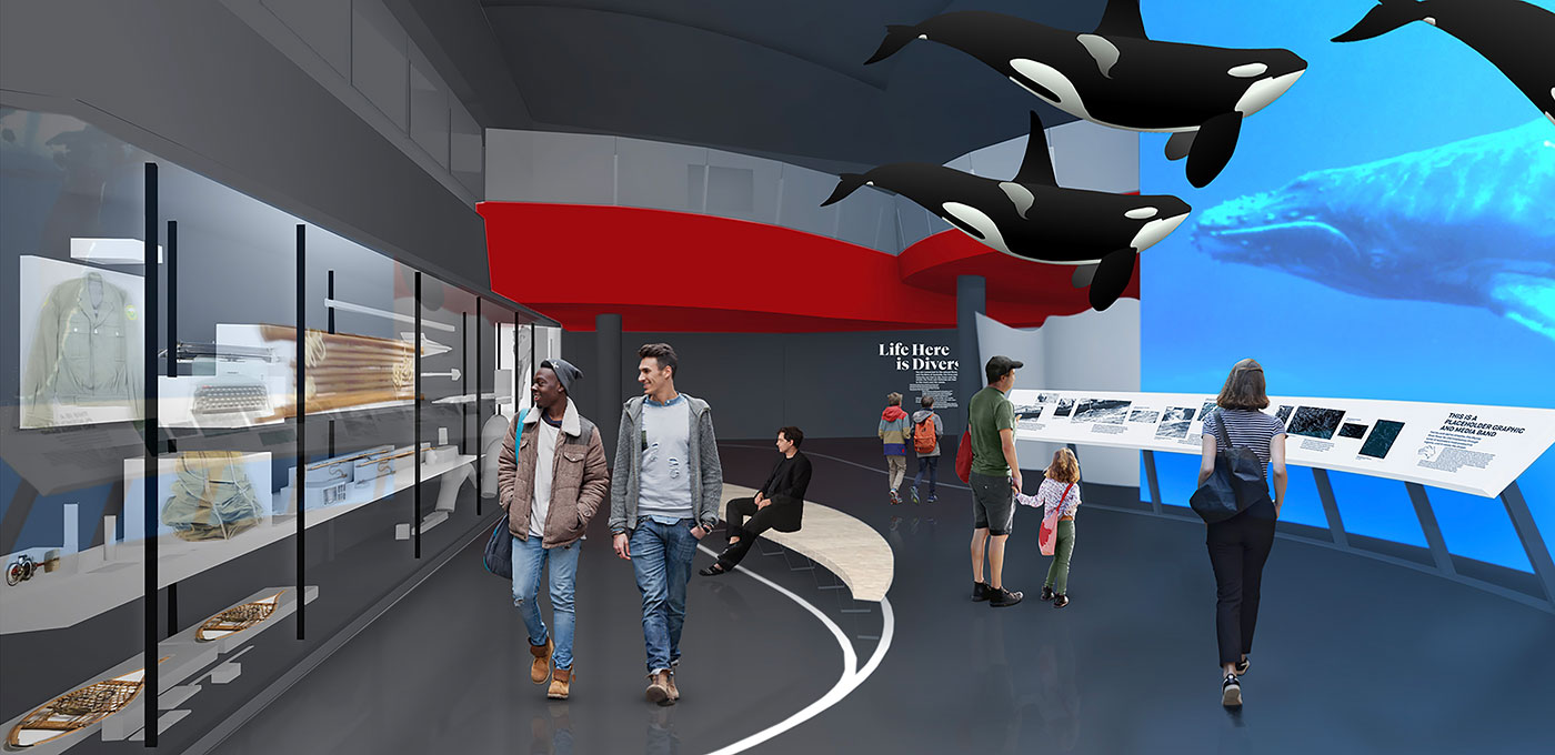 Artists impression of a gallery space, with several large killer whale sculptures suspended from the ceiling, and various people looking at objects and a screen showing footage of a whale.