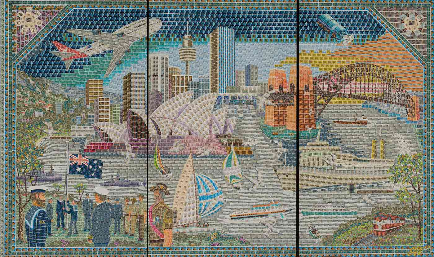 A mural in three parts, made of hundreds of postage stamps. It shows a contemporary Sydney Harbour scene, with the Opera House, Centrepoint Tower and the Harbour Bridge dominating the city skyline. The harbour appears in the foreground, with several yachts, ships and a ferry. A military flag-raising ceremony is pictured in the left foreground and a Qantas plane dominates the sky. - click to view larger image