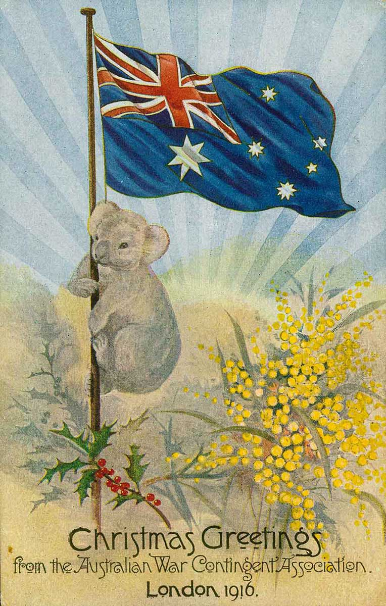 Postcard with an image of a koala climbing a flag pole which has the Australian flag at the top. There is a sprig of holly and a spray of wattle at the base of the flag pole. Text across the bottom reads 'Christmas greetings from the Australian War Contingent Association., London 1916.'. - click to view larger image