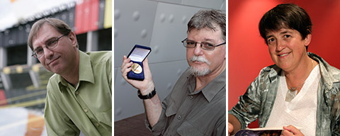 Individual images (from left to right): Dr Peter Stanley, Dr Mike Smith holding his Rhys Jones Medal and Dr Libby Robin.