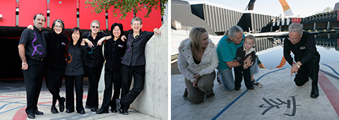 Image on left: A group shot of six visitor services hosts standing in the Garden of Australian Dreams. Image on right: Visitor services host with a family in the Garden of Australian Dreams.