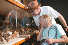 Christina Wood and her son Mike examining the objects on display in Captivating and Curious.