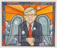 Cartoon of Kevin Rudd portrayed as a winged saint in a stained glass window with holes in the shape of the southern cross piercing the glass.