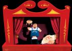 Cartoon of a puppet theatre with John Howard working a union boss hand puppet. The union boss puppet in turn holds a Kevin Rudd puppet.