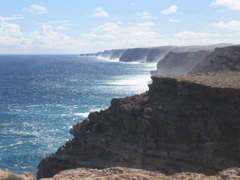 Top: The Zuytdorp Cliffs in Western Australia are named after a Dutch East India Trading Company ship wrecked on this coast in 1712. Photo: Kevin Whelan.