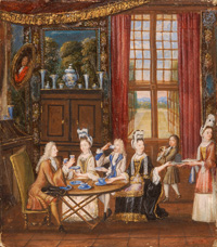 Painting of an English tea party.