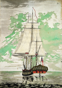 Watercolour painting shows the Resolution ship, about 1775.