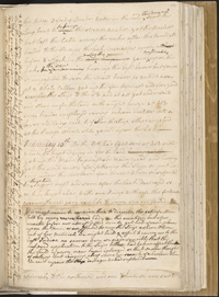 Page from Cook's journal for 13 June 1770 that recounts the crew's efforts to plug the hole in Endeavour's hull